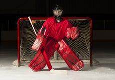 Goalie do hóquei de gelo Imagens de Stock