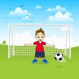 Goalie för tonårs- pojke som fångar fotbollbollen - vektorillustration royaltyfri illustrationer