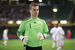 Goalie Goal Keeper. Igor Akinfeev, Russian Goalkeeper is seen during their 2010 World Cup Qualifiying match against Wales at The Millennium Stadium, Cardiff stock image