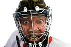 Goalie louco do hóquei fotos de stock