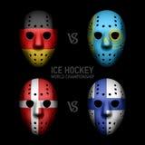Goalie masks with flags. Ice Hockey World Championship 2014 Stock Photography