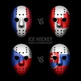 Goalie masks with flags. Ice Hockey World Championship 2014 Stock Photo
