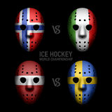 Goalie masks with flags. Ice Hockey World Championship 2014 Stock Photos
