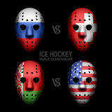 Goalie masks with flags. Ice Hockey World Championship 2014 Royalty Free Stock Photography