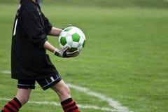 Goalie met Bal stock afbeeldingen