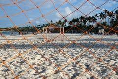 Goalie Net on Seashore royalty free stock images