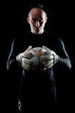 Goalie op zwarte royalty-vrije stock foto