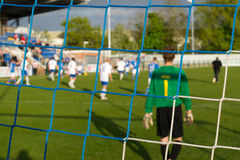 Goalie. Picture of the view from behind the goal royalty free stock images