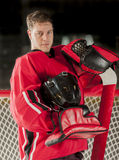 Goalie portrait. Posing with his gear and helmet off royalty free stock images