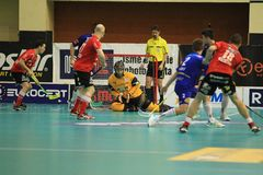 Goalie Roman Ciompa - floorball Stock Photo