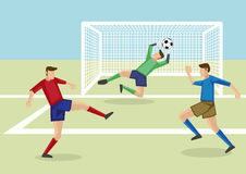 Goalie Saves the Day Vector Illustration Royalty Free Stock Images