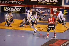 Goalie Vit Schulmeister - floorball Royalty-vrije Stock Foto's
