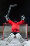 Goalieanseendet gjorde upprymd med armar som lyfttes upp ovanför hans huvud Royaltyfria Foton