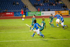 We are goaling. East Asian Games, Football: Japan vs Macau, Japan was just shooting the ball for a goal. Finally, Japan won for 5:0 Stock Image