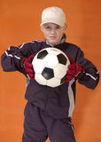 The goalkeeper. The young man with a ball stock image