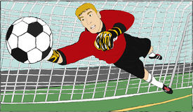 Goalkeeper. A goalkeeper who try to save the ball from the other team Stock Photography