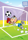 Goalkeeper. The illustration shows the boy on the football field. He is a goalkeeper and he catches the ball in the goal. Character is located against the Royalty Free Stock Photos