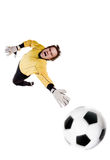 Goalkeeper in action Royalty Free Stock Photo