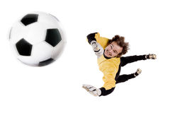 Goalkeeper in action Stock Photo