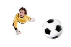 Goalkeeper in action Stock Images