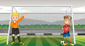 Free Goalkeeper And Referee In The Field Royalty Free Stock Image - 70929476