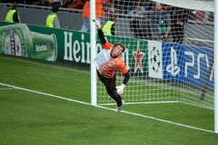 Goalkeeper Andriy Pyatov warming up Stock Image
