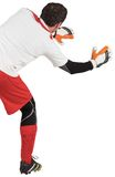 Goalkeeper with arms ready to catch. On white background stock images