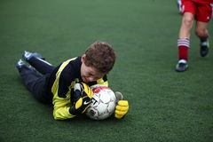 Goalkeeper with ball Royalty Free Stock Photos