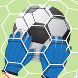 Goalkeeper batted ball Royalty Free Stock Image