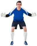 Goalkeeper in blue ready to save. On white background stock images