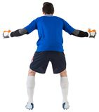 Goalkeeper in blue ready to save. On white background royalty free stock image