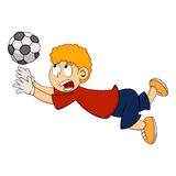 Goalkeeper catch the ball cartoon Stock Images