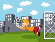 Goalkeeper catch the ball on the field with city background cartoon Stock Photos