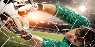 Goalkeeper catches the ball in the stadium Stock Image