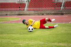 Goalkeeper catches the soccer ball royalty free stock photography
