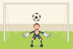 Goalkeeper catches soccer ball. Penalty kick in soccer. Football goal stock illustration