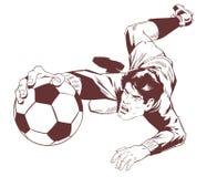Goalkeeper catches soccer ball. Stock illustration. Stock Photography