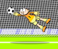 Goalkeeper catching the ball Royalty Free Stock Image