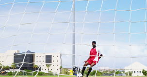 Goalkeeper defending a goal in the field. On a sunny day stock video