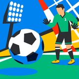 Goalkeeper defends goal. Football player with ball against background of the stadium. Soccer player in Russia. penalty. Full color illustration in flat style Stock Images