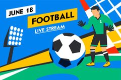 Goalkeeper defends goal. Football player with ball against background of the stadium. Soccer player in Russia. penalty. Football web banner. Live stream Royalty Free Stock Photos