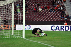 Goalkeeper defends penalty Royalty Free Stock Photography