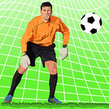 Goalkeeper. Detailed vector illustration of jumping goalie Stock Photography