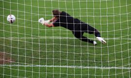 Goalkeeper Diving Save Royalty Free Stock Images