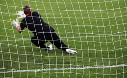 Goalkeeper diving save Royalty Free Stock Photo