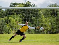 Goalkeeper diving to save the goal Royalty Free Stock Photos
