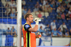Goalkeeper is drinking a water during the game Royalty Free Stock Photo