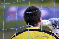 Goalkeeper drinks water stock photos