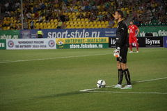 Goalkeeper fc rubin Sergey Ryzikov in the match against fc kuban Royalty Free Stock Images