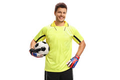 Goalkeeper with a football Stock Images